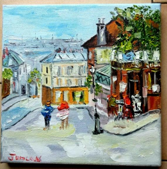 TABLEAU PEINTURE Scène de genre Peinture a l'huile  - PARIS LA BUVETTE MONTMARTRE