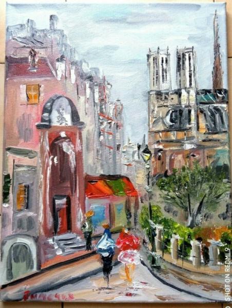 TABLEAU PEINTURE Scène de genre Peinture a l'huile  - PARIS NOTRE DAME RUE ST JULIEN