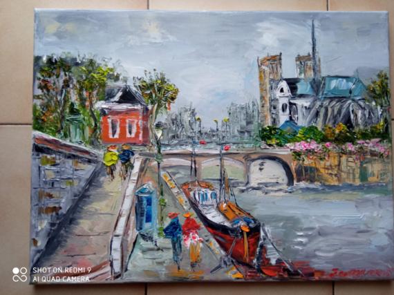 TABLEAU PEINTURE Scène de genre Peinture a l'huile  - PARIS NOTRE DAME QUAI DE SEINE