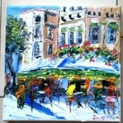 tableau scene de genre paris cafe brasserie huile toile peinture : LES DEUX MAGOTS