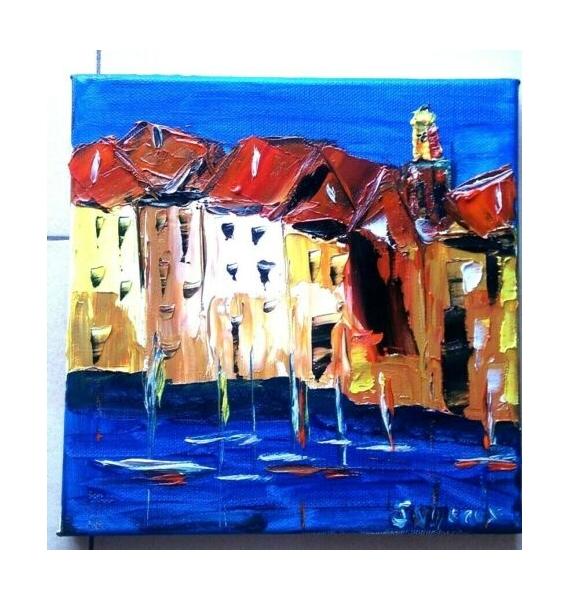TABLEAU PEINTURE ST TROPEZ HUILE TOILE PROVENCE Paysages Peinture a l'huile  - ST RROPEZ LA CITADELLE