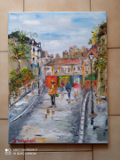 tableau scene de genre : PARIS RUE DES SAULES