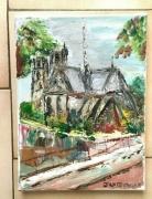 tableau paysages paris notre dame quai de seine huile sur toile : NOTRE DAME DE PARIS