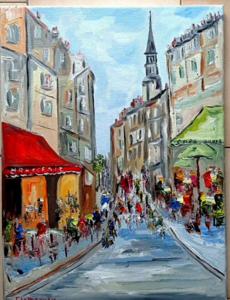 TABLEAU PEINTURE Scène de genre Peinture a l'huile  - PARIS QUARTIER ST GERMAIN