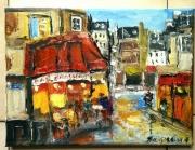 tableau scene de genre paris brasserie montmartre huile : BRASSERIE PARIS