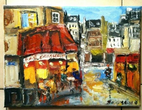 TABLEAU PEINTURE PARIS BRASSERIE MONTMARTRE HUILE Scène de genre Peinture a l'huile  - BRASSERIE PARIS