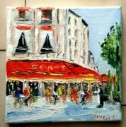 tableau scene de genre paris cafe brasserie huile toile : BRASSERIE LE FOUQUET S