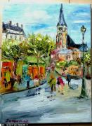 tableau scene de genre : PARIS EGLISE ST GEREMAIN ST GERMAIN DES PRES