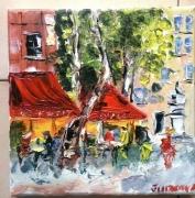 tableau scene de genre aix en provence cafe brasserie huile toile : BRASSERIE LE FESTIVAL