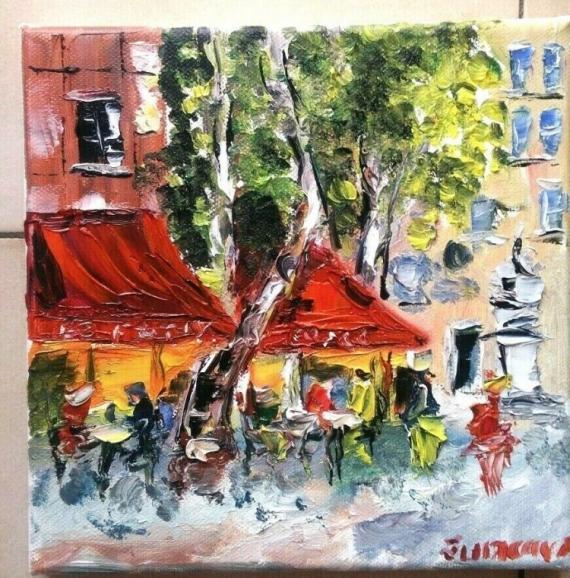 TABLEAU PEINTURE AIX EN PROVENCE CAFE BRASSERIE HUILE TOILE Scène de genre Peinture a l'huile  - BRASSERIE LE FESTIVAL