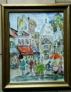 tableau paysages paris place du tertre montmartre aquarelle : PARIS LE SACRE COEUR