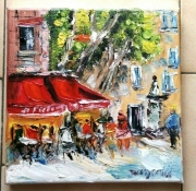 tableau scene de genre brasserie aix en provence huile toile : CAFE LE FESTIVAL AIX EN PROVENCE