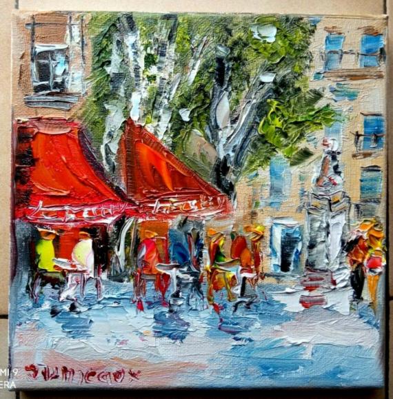 TABLEAU PEINTURE Scène de genre Peinture a l'huile  - BRASSERIE AIX EN PROVENCE LE FESTIVAL