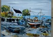 tableau marine port breton marine huile toile : PETIT PORT BRETON
