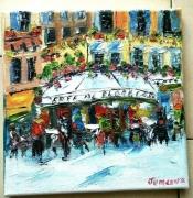tableau scene de genre paris cafe de flore huile toile : CAFE DE FLORE PARIS
