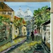 tableau paysages paris le sacre coeur montmartre huile sur toile : PARIS LE SACRE COEUR