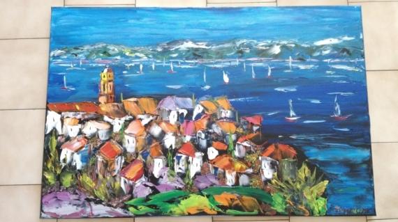 TABLEAU PEINTURE ST TROPEZ LA CITADELLE HUILE TOILE Paysages Peinture a l'huile  - ST TROPEZ LA CITADELLE
