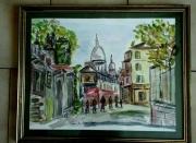 tableau paysages paris le sacre coeur montmartre aquarelle : LE SACRE COEUR