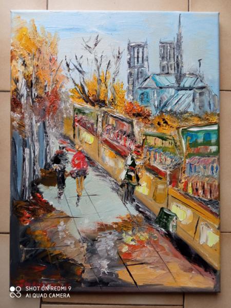 TABLEAU PEINTURE Scène de genre Peinture a l'huile  - NOTRE DAME DE PARIS LES BOUQUINISTES LES QUAIS
