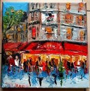 tableau scene de genre paris cafe brasserie huile toile : LE FOUQUET 'S PARIS