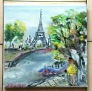 tableau paysages paris la tour eiffel quai de seine huile sur toile : PARIS LA TOUR EIFFEL