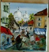 tableau paysages paris place du tertre montmartre huile sur toile : PARIS PLACE DU TERTRE