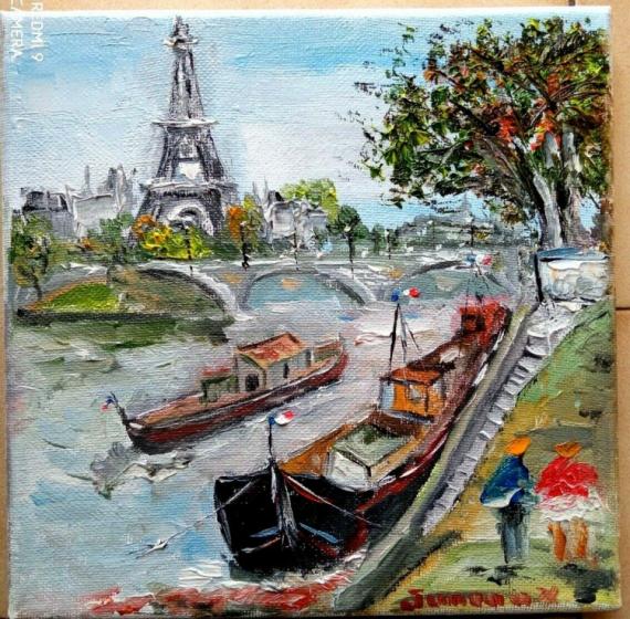 TABLEAU PEINTURE Scène de genre Peinture a l'huile  - PARIS LA TOUR EIFFEL QUAI DE SEINE LES PENICHES