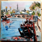 tableau scene de genre paris pont alexandre iii huile toile : LE PONT ALEXANDRE III