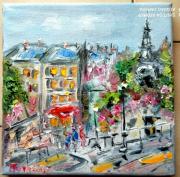 tableau scene de genre : MONTMARTRE PARIS LA BUTE LES ESCALIERS