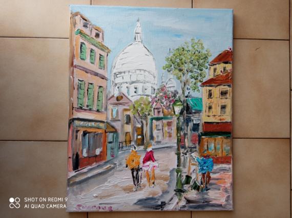 TABLEAU PEINTURE PARIS PLACE DU TERTRE MONTMARTRE LE SACRE COEUR Scène de genre Peinture a l'huile  - PARIS LE SACRE COEUR