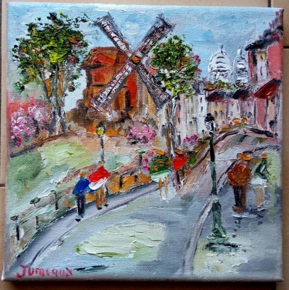 TABLEAU PEINTURE Scène de genre Peinture a l'huile  - PARIS RUE LEPIC LE MOULIN DE LA GALETTE