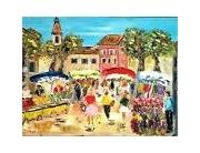 tableau scene de genre provence marche village : BEAUMES DE VENISE