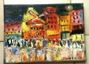 tableau scene de genre paris pigalle moulin rouge huile : MOULIN ROUGE