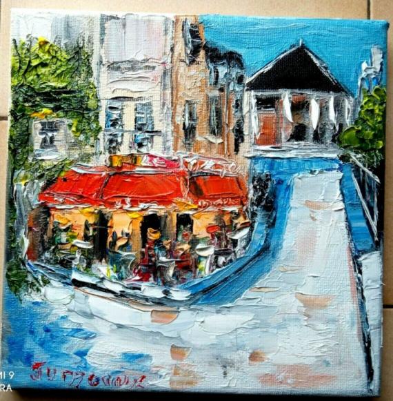 TABLEAU PEINTURE Scène de genre Peinture a l'huile  - BRASSERIE PARIS ST GERMAIN DES PRES LE DANTON