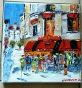 tableau scene de genre paris cafe brasserie huile toile : CAFE CONTI PARIS