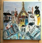 tableau scene de genre paris les toits de ¨paris huile toile : LES TOITS DE PARIS