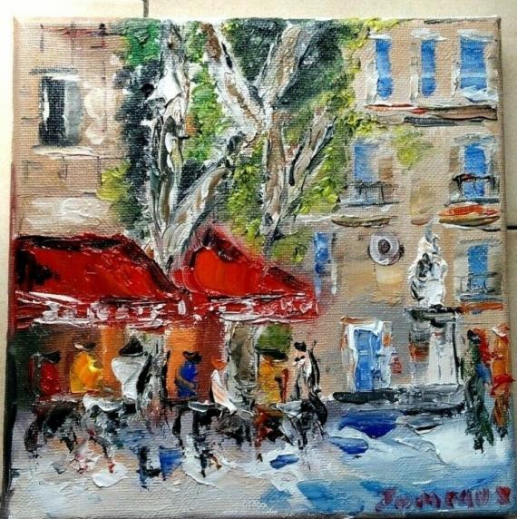 TABLEAU PEINTURE PARIS CAFE BRASSERIE HUILE TOILE Scène de genre Peinture a l'huile  - CAFE LE FESTIVAL