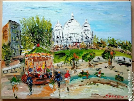TABLEAU PEINTURE Scène de genre Peinture a l'huile  - PARIS LE SACRE COEUR LE MANEGE