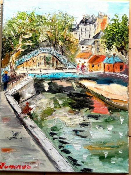 TABLEAU PEINTURE Scène de genre Peinture a l'huile  - PARIS LE CANAL ST MARTIN