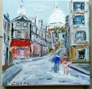 tableau paysages paris le sacre coeur montmartre toile : RUE NORVINS PARIS