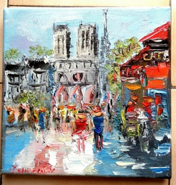 TABLEAU PEINTURE PARIS NOTRE DAME HUILE TOILE Scène de genre Peinture a l'huile  - NOTRE DAME DE PARIS