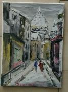 tableau paysages paris le sacre coeur montmartre huile : LE SACRE COEUR PARIS