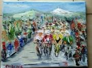 tableau scene de genre toile velo tour de france sport peinture : TOUR DE FRANCE
