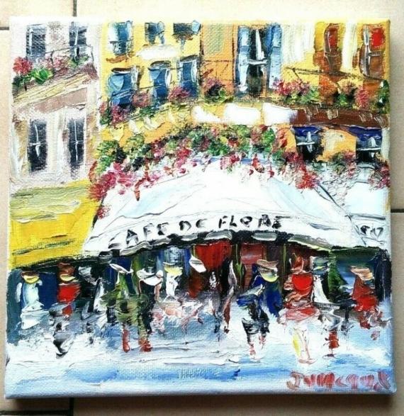 TABLEAU PEINTURE PARIS CAFE BRASSERIE HUILE TOILE Scène de genre Peinture a l'huile  - CAFE LE FLORE PARIS