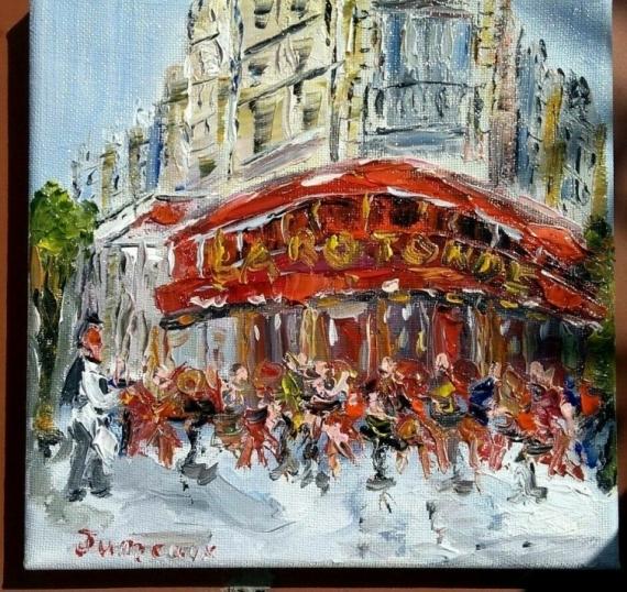 TABLEAU PEINTURE PARIS CAFE BRASSERIE HUILE TOILE Scène de genre Peinture a l'huile  - BRASSERIE LA ROTONDE PARIS