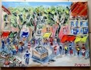 tableau scene de genre toile marche village provence : PLACE DE MARCHE