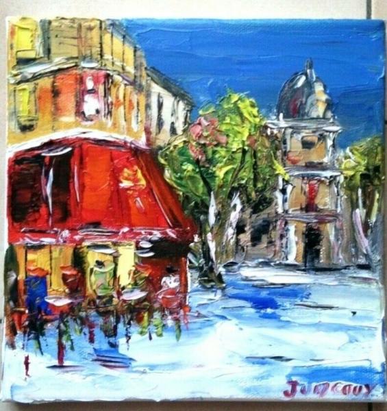 TABLEAU PEINTURE PARIS CAFE BRASSERIE HUILE TOILE Scène de genre Peinture a l'huile  - LE SOUPER BRASSERIE