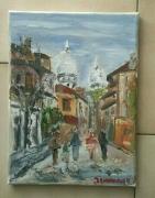 tableau paysages paris le sacre coeur montmartre huile sur toile : LE CACRE COEUR PARIS