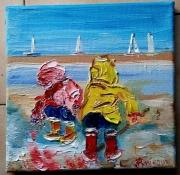 tableau personnages bretagne huile toile enfants : PETIT PECHEUR BRETON