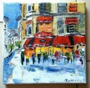 tableau scene de genre paris brasserie cafe conti huile : CAFE CONTI PARIS